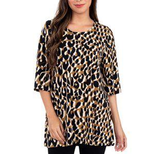 Leota Womens Painterly Leopard Tunic Tan Size-L